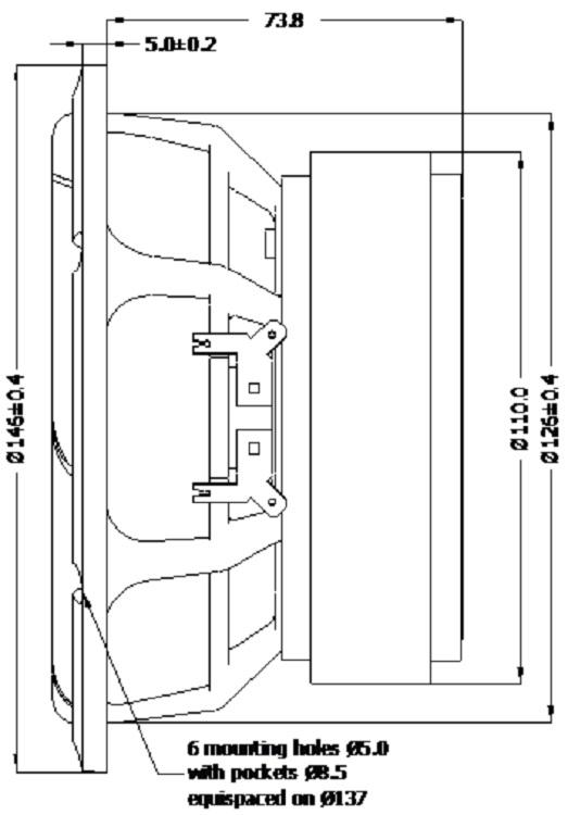 D Seas Excel loudspeaker woofer E0073 08 W16NX003